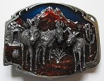 Pewter Enameled Burro Belt Buckle